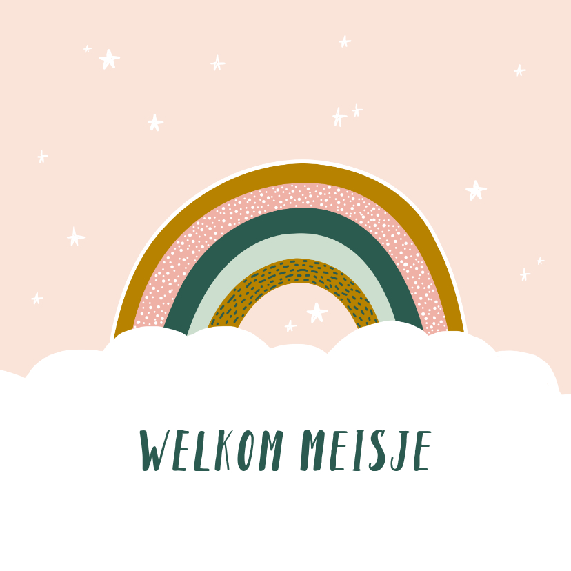 Felicitatiekaarten - Felicitatiekaart geboorte regenboog meisje