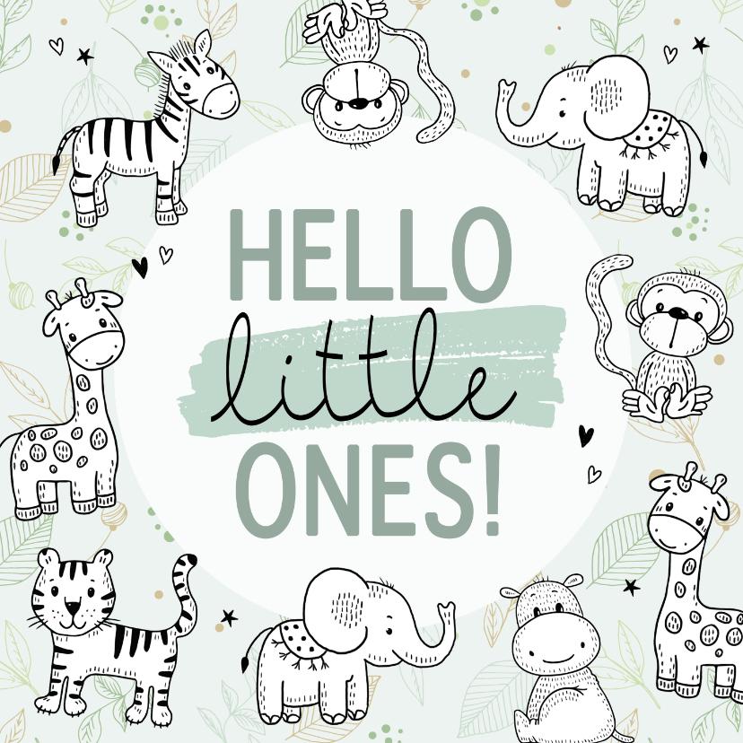 Felicitatiekaarten - Felicitatiekaart geboorte - Safari dieren voor tweeling