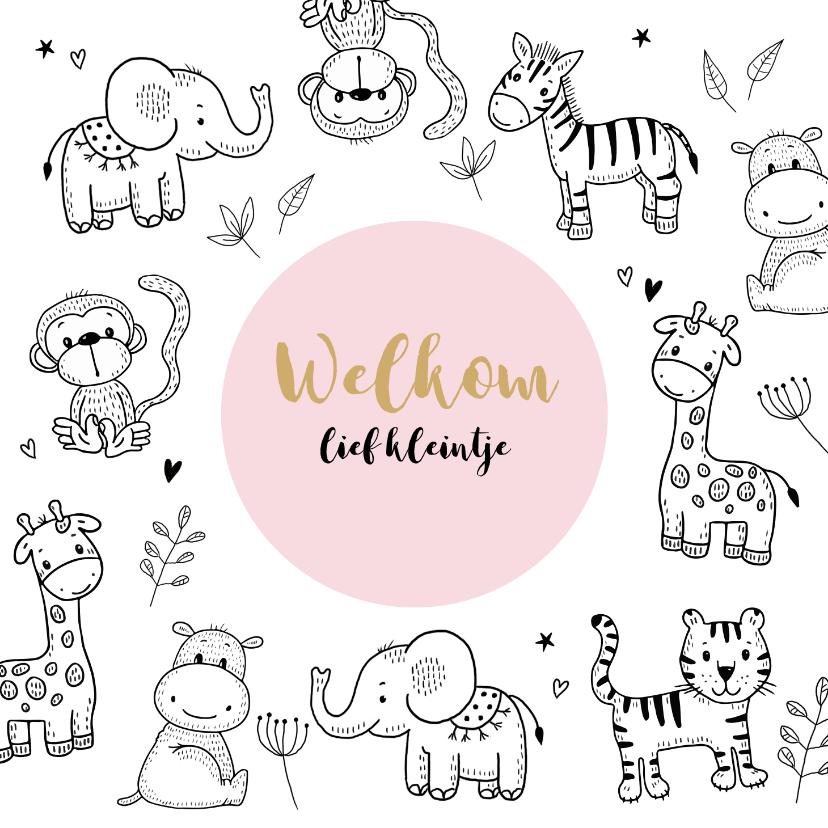 Felicitatiekaarten - Felicitatiekaart geboorte safaridiertjes om roze cirkel
