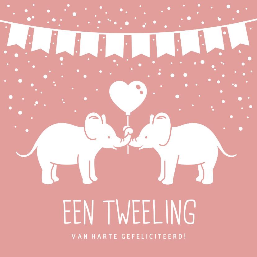Felicitatiekaarten - Felicitatiekaart geboorte tweeling 2 meisjes met olifantjes