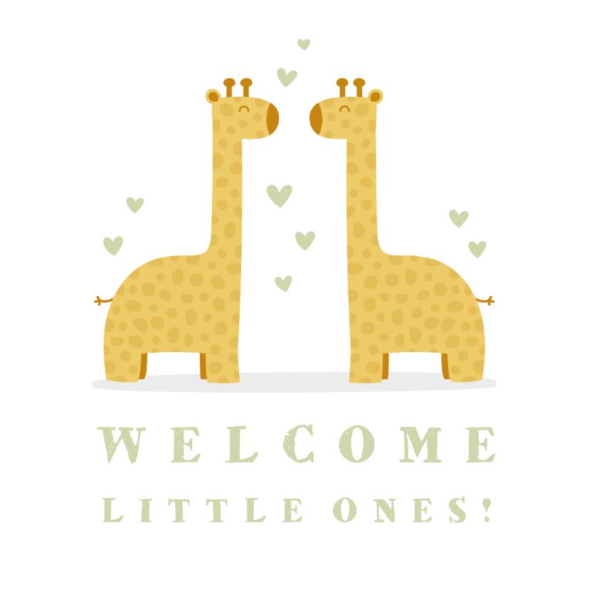 Felicitatiekaarten - Felicitatiekaart geboorte tweeling giraf met hartjes