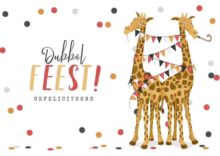 Felicitatiekaarten - Felicitatiekaart geboorte tweeling meisjes feest giraf
