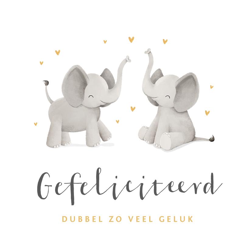 Felicitatiekaarten - Felicitatiekaart geboorte tweeling olifantjes goud hartjes