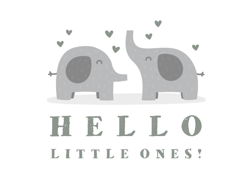 Felicitatiekaarten - Felicitatiekaart geboorte tweeling olifantjes met hartjes