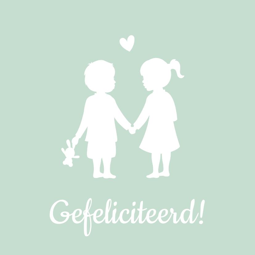 Felicitatiekaarten - Felicitatiekaart geboorte tweeling silhouet jongen en meisje