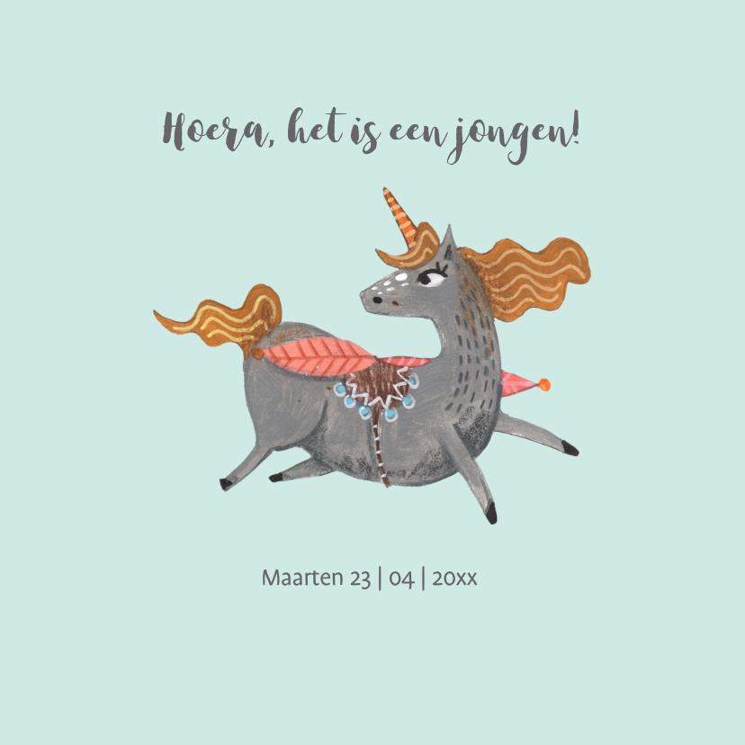 Felicitatiekaarten - Felicitatiekaart geboorte unicorn jongen