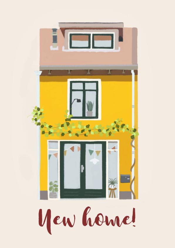 Felicitatiekaarten - Felicitatiekaart geel huis met vlaggetjes