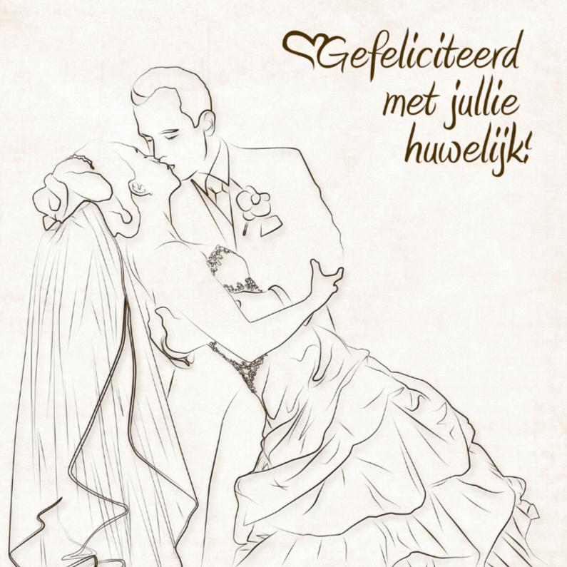 Felicitatiekaarten - Felicitatiekaart Gefeliciteerd met jullie huwelijk