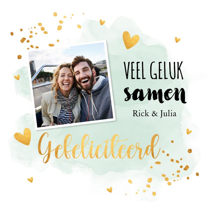 Felicitatiekaarten - Felicitatiekaart getrouwd foto waterverf mintgroen goudlook