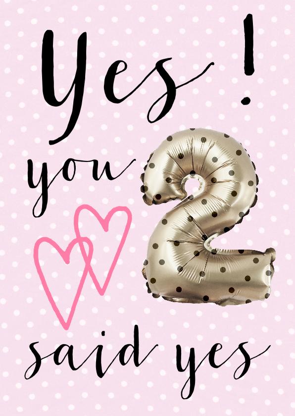 Felicitatiekaarten - Felicitatiekaart getrouwd YES