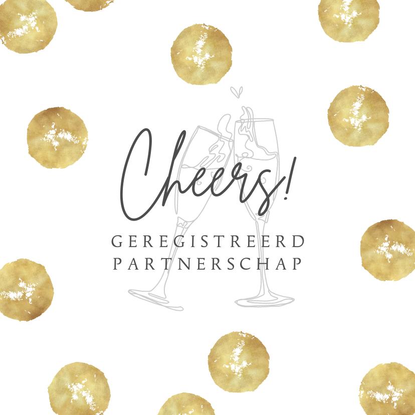 Felicitatiekaarten - Felicitatiekaart goud champagne geregistreerd partnerschap