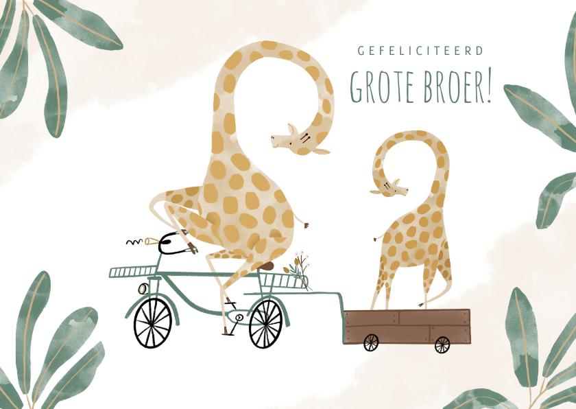 Felicitatiekaarten - Felicitatiekaart grote broer met girafjes bakfiets