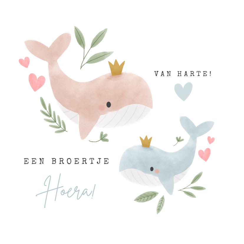 Felicitatiekaarten - Felicitatiekaart grote zus en broertje walvissen en hartjes