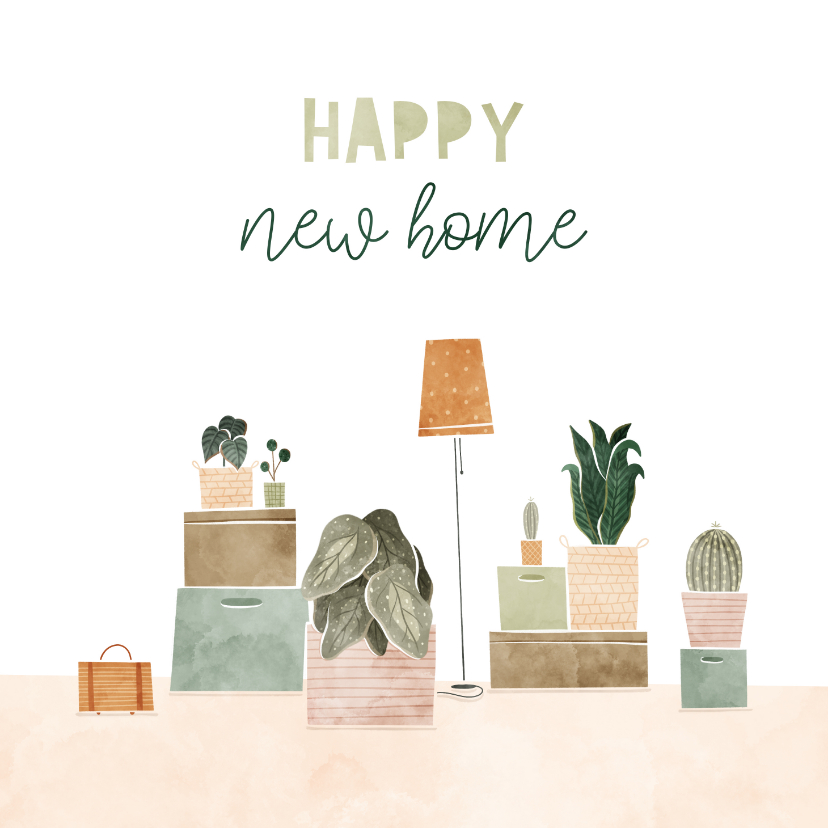 Felicitatiekaarten - Felicitatiekaart happy new home met plantjes en verhuisdozen