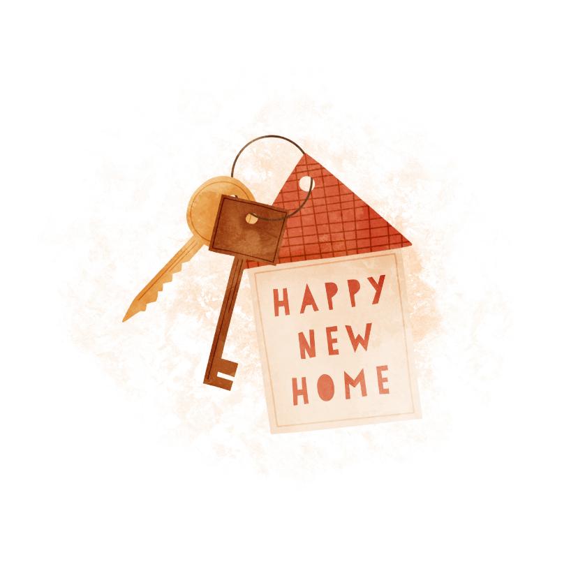 Felicitatiekaarten - Felicitatiekaart happy new home met sleutelbos