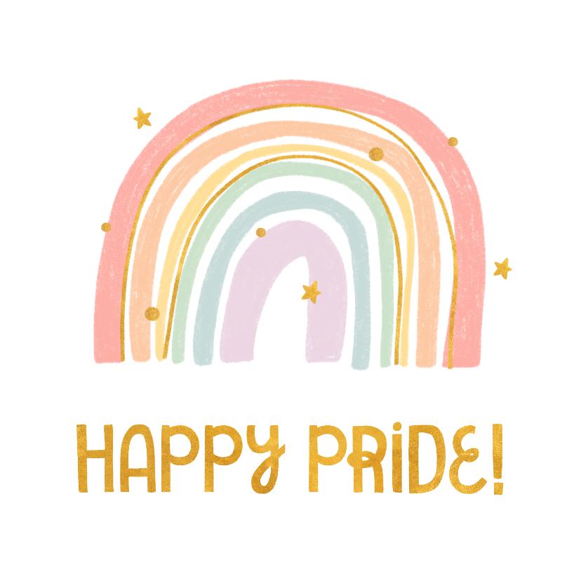 Felicitatiekaarten - Felicitatiekaart happy pride met regenboog en goudlook