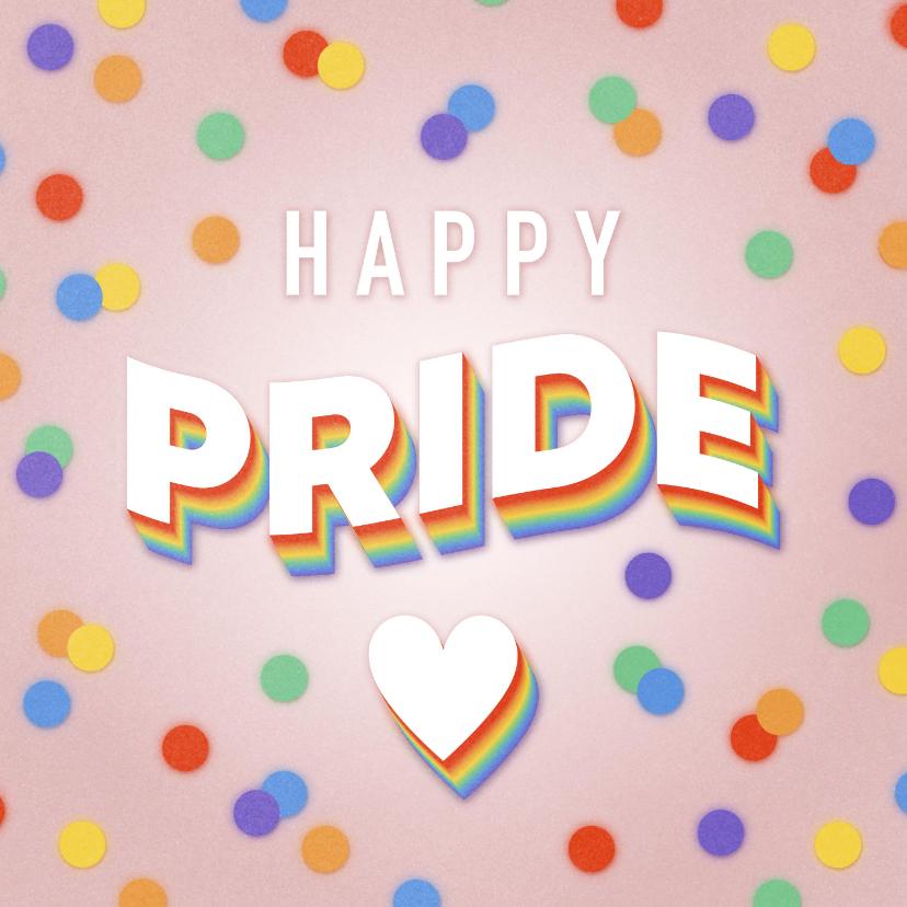 Felicitatiekaarten - Felicitatiekaart 'Happy Pride' regenboog tekst en confetti