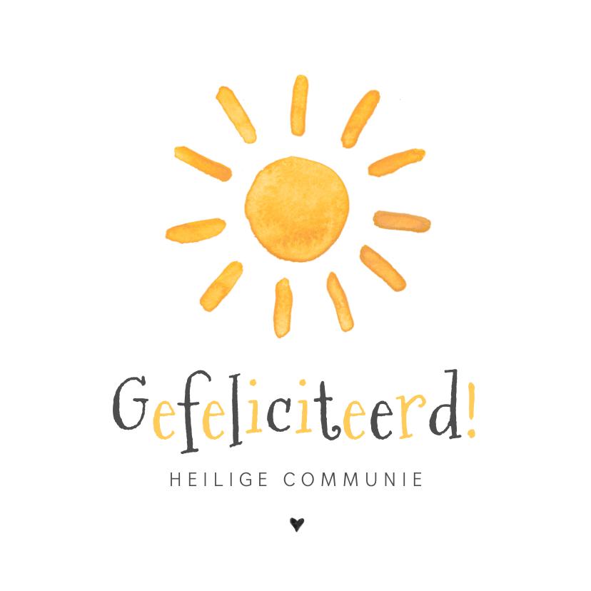 Felicitatiekaarten - Felicitatiekaart Heilige Communie zon zonnestralen vrolijk