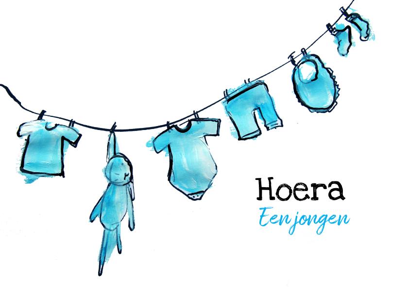Felicitatiekaarten - Felicitatiekaart, Hoera een jongen geboren