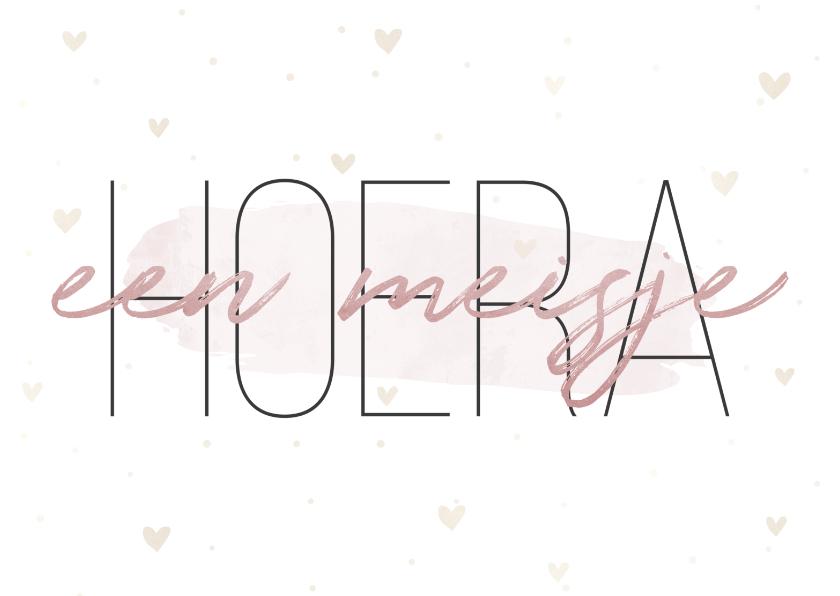 Felicitatiekaarten - Felicitatiekaart 'Hoera een meisje' met hartjes en waterverf