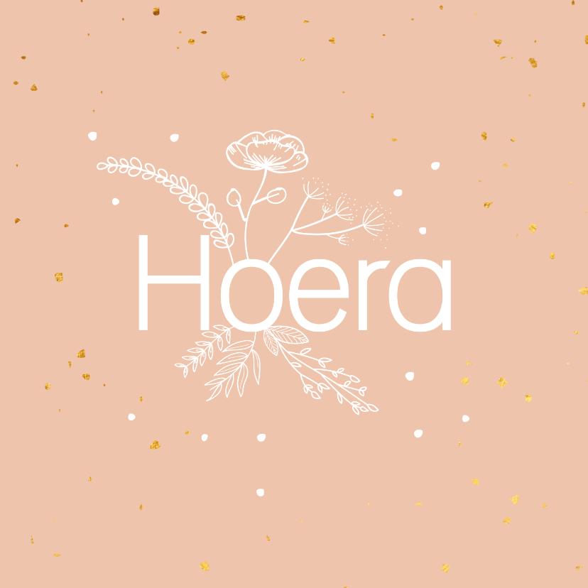 Felicitatiekaarten - Felicitatiekaart - Hoera - flowers