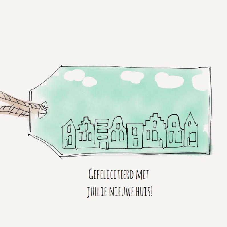 Felicitatiekaarten - Felicitatiekaart huis Groen