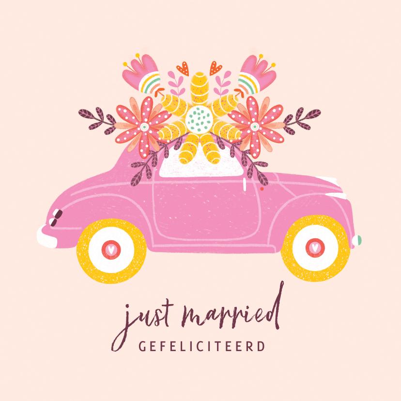 Felicitatiekaarten - Felicitatiekaart huwelijk auto bloemen beige
