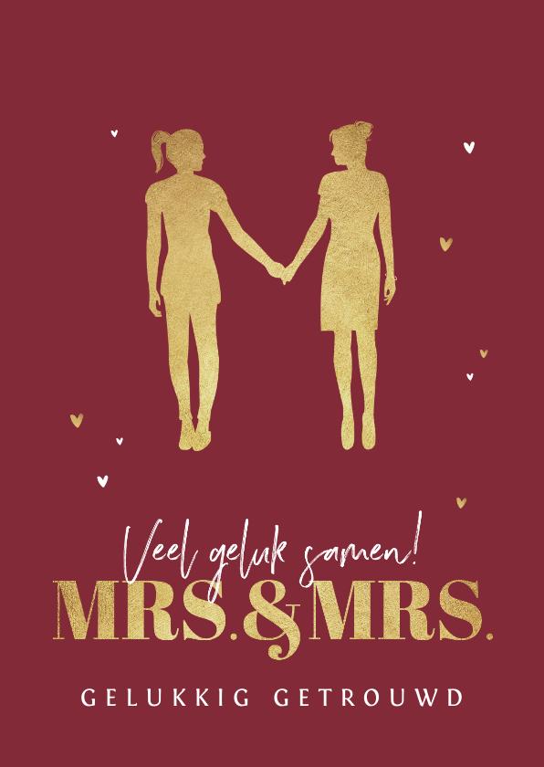 Felicitatiekaarten - Felicitatiekaart huwelijk gay mrs and mrs silhouet vrouwen