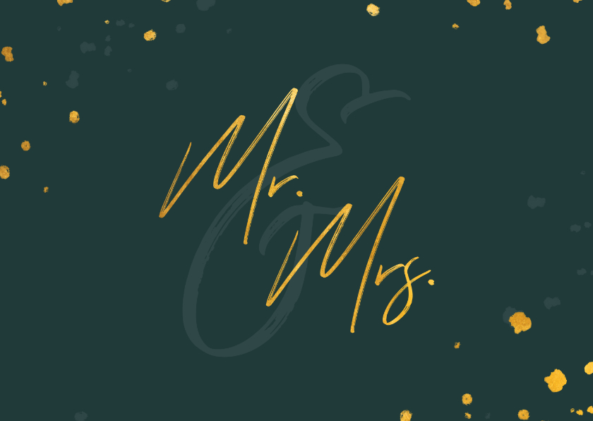 Felicitatiekaarten - Felicitatiekaart huwelijk gouden 'mr & mrs' met confetti