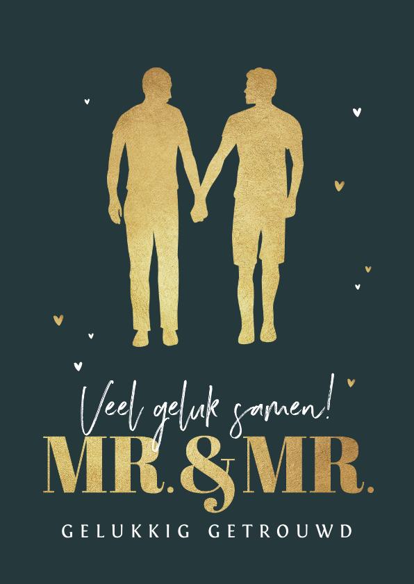 Felicitatiekaarten - Felicitatiekaart huwelijk homo gay mr and mr silhouet