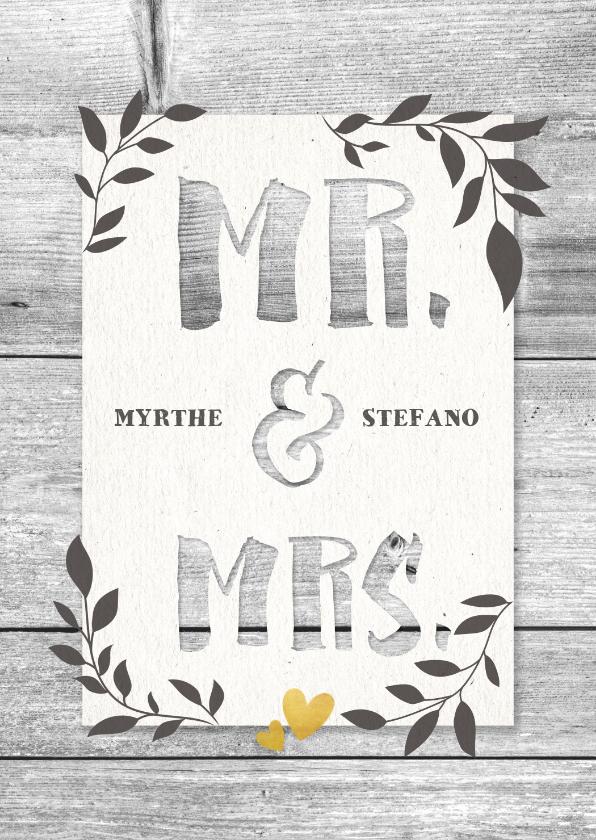 Felicitatiekaarten - Felicitatiekaart huwelijk hout met takjes en typografie