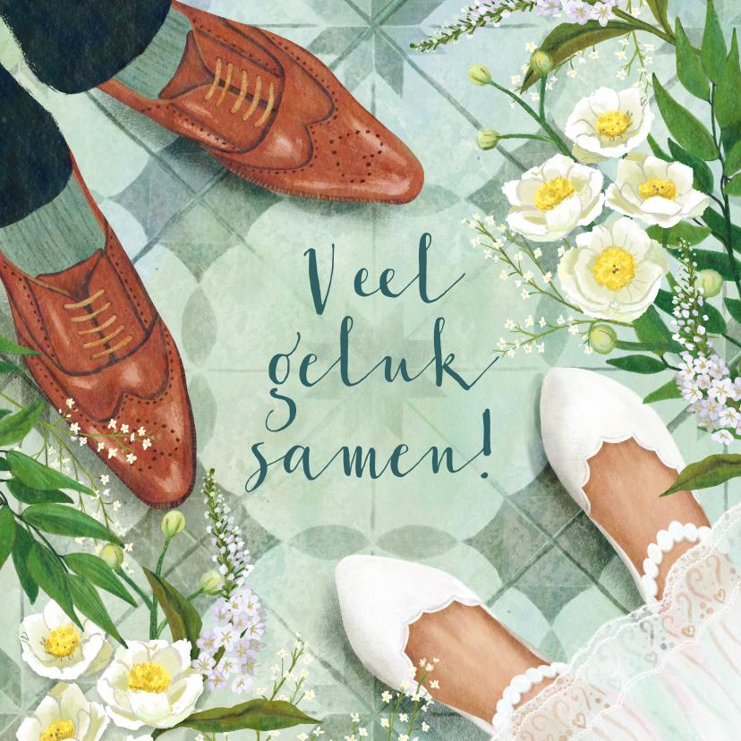 Felicitatiekaarten - Felicitatiekaart huwelijk met de schoenen van het bruidspaar