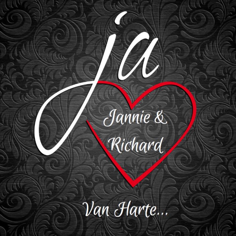 Felicitatiekaarten - Felicitatiekaart  huwelijk met ja-woord en hart