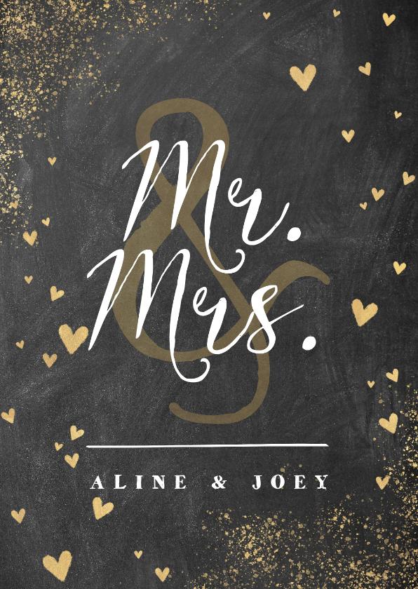 Felicitatiekaarten - Felicitatiekaart huwelijk met krijtbord en gouden hartjes