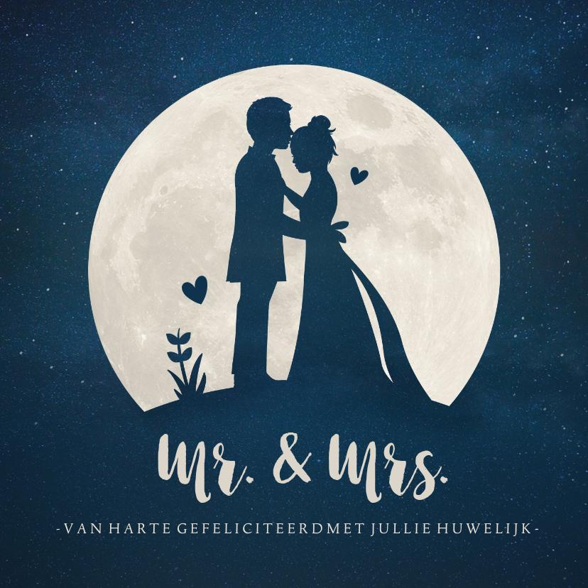 Felicitatiekaarten - Felicitatiekaart huwelijk met silhouet bruidspaar in maan