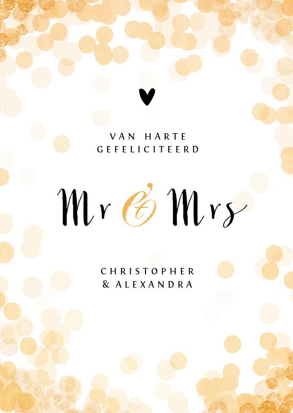 Felicitatiekaarten - Felicitatiekaart huwelijk mr and mrs goud confetti stijlvol