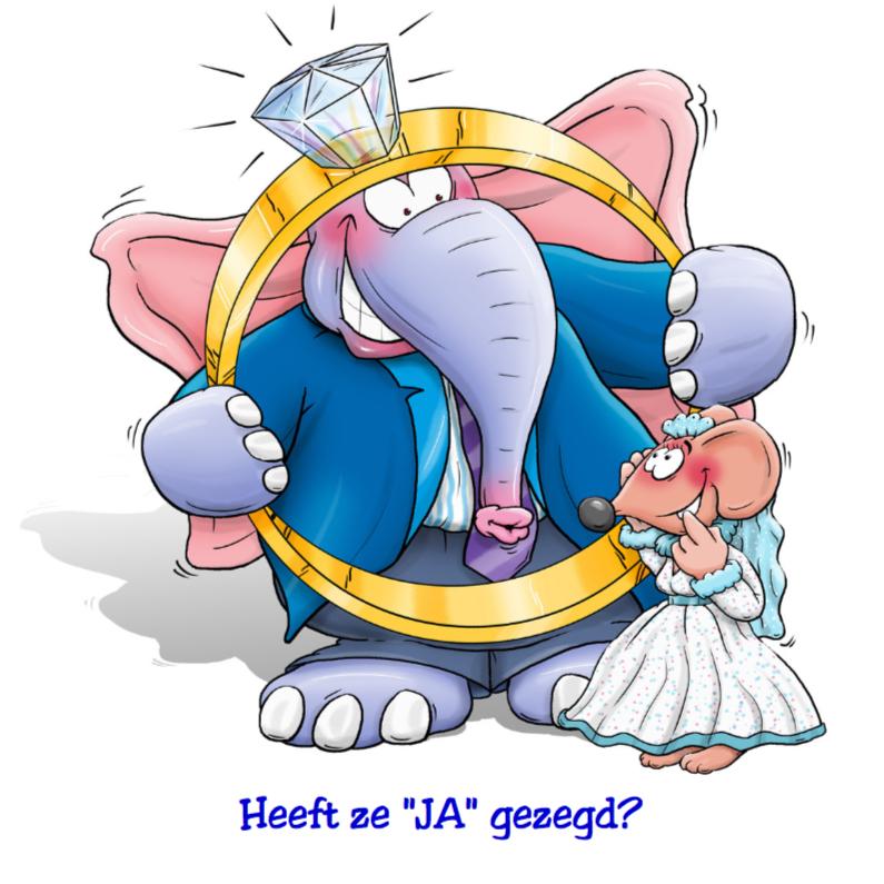 Felicitatiekaarten - Felicitatiekaart  huwelijk muis en olifant met grote ring