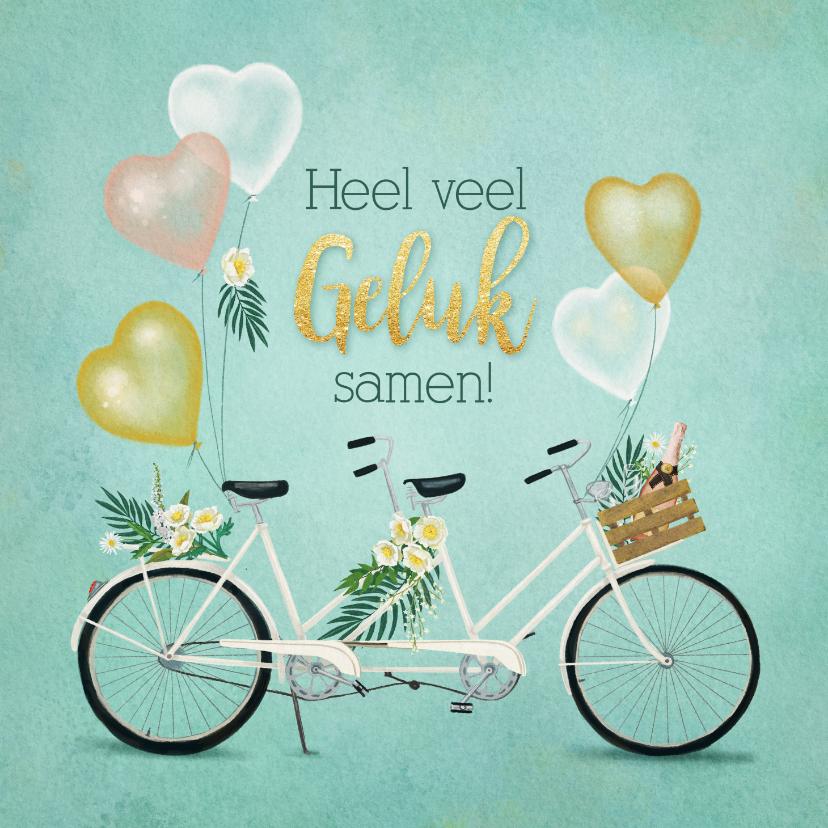 Felicitatiekaarten - Felicitatiekaart huwelijk tandem met bloemen en ballonnen