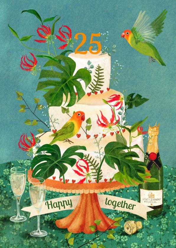 Felicitatiekaarten - Felicitatiekaart huwelijks jubileum versierde taart