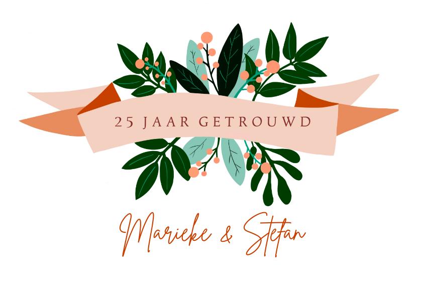 Felicitatiekaarten - Felicitatiekaart huwelijksjubileum oranje bloemen