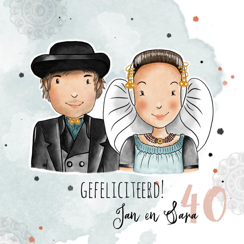 Felicitatiekaarten - Felicitatiekaart huwelijksjubileum Zeeuws echtpaar