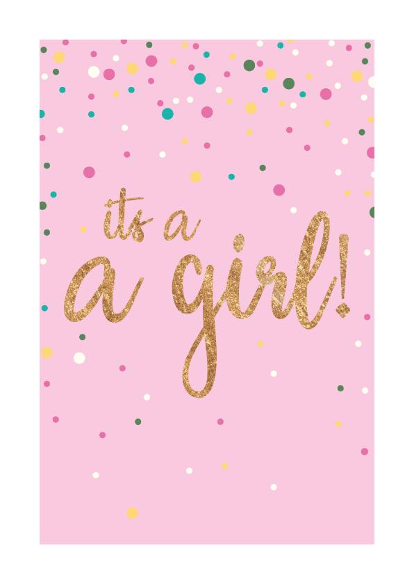 Felicitatiekaarten -  Felicitatiekaart - It's a girl - sparkling
