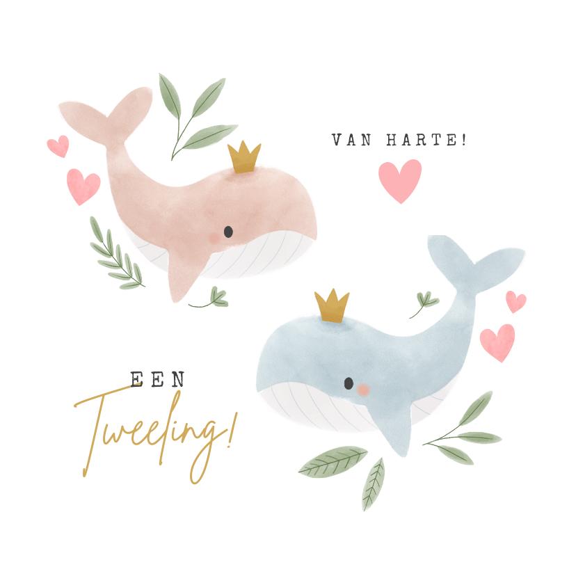 Felicitatiekaarten - Felicitatiekaart jongen meisje tweeling met walvissen