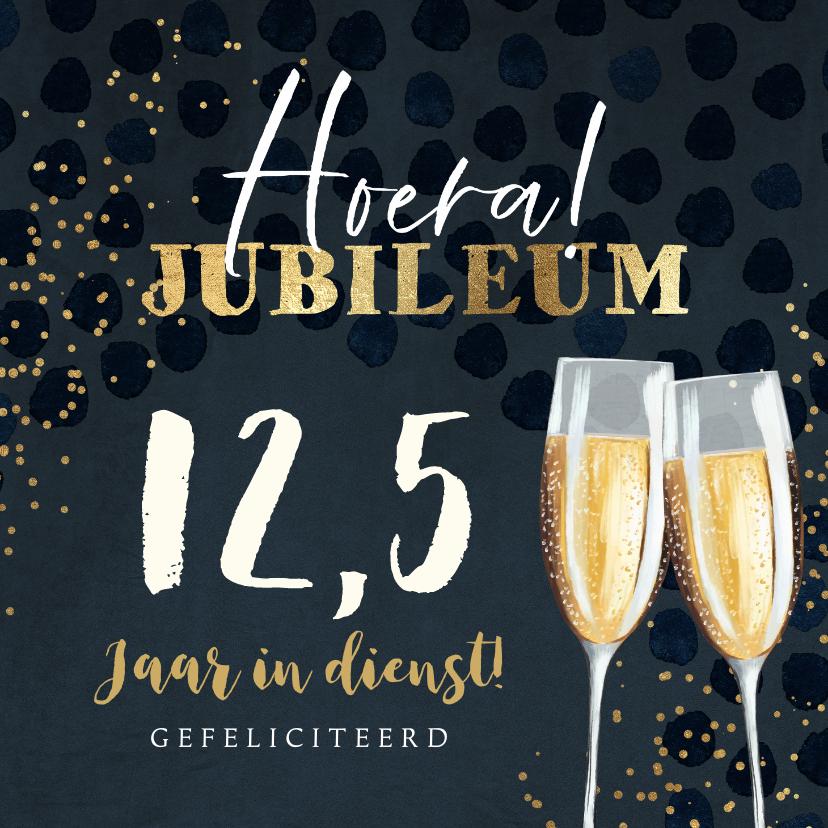 Felicitatiekaarten - Felicitatiekaart jubileum 12,5 champagne goud confetti