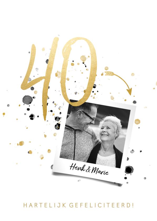 Felicitatiekaarten - Felicitatiekaart jubileum '40' met spetters en foto