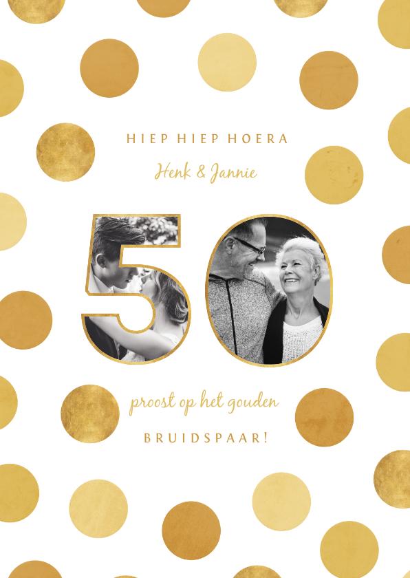 Felicitatiekaarten - Felicitatiekaart jubileum fotocollage '50' met confetti