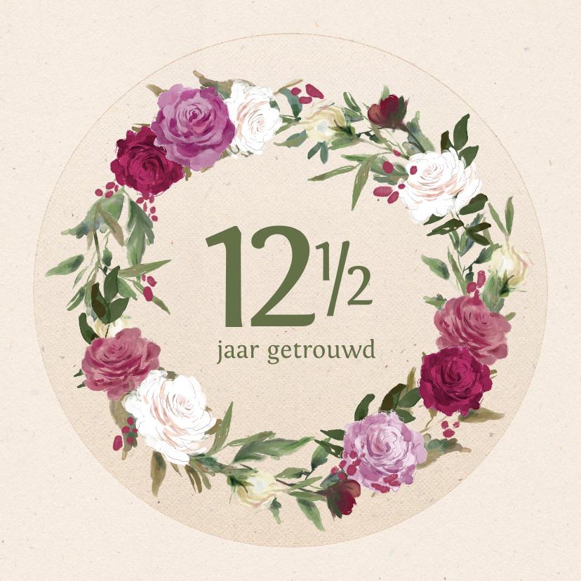 Felicitatiekaarten - Felicitatiekaart jubileum met rozenkrans