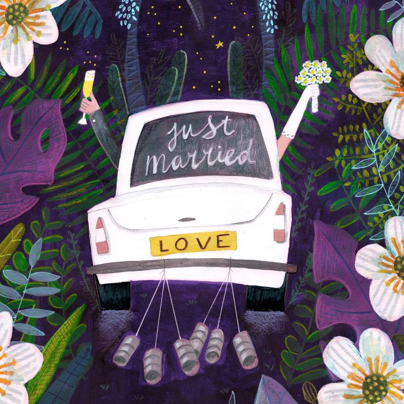 Felicitatiekaarten - Felicitatiekaart Just Married auto