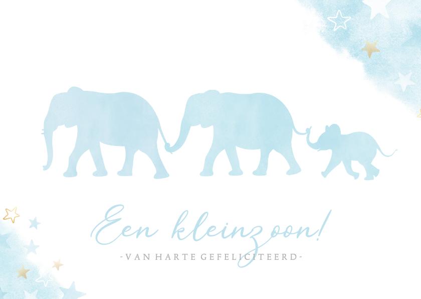 Felicitatiekaarten - Felicitatiekaart kleinzoon met silhouet van 3 olifantjes