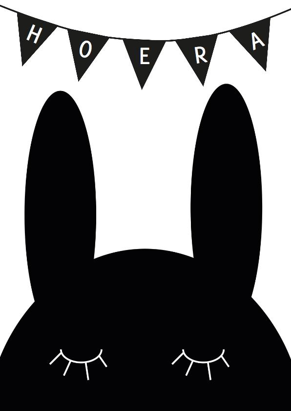 Felicitatiekaarten - Felicitatiekaart konijn zwartwit